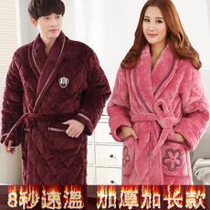 加长款加厚珊瑚绒夹棉女冬睡袍保暖冬季情侣大码加绒棉浴袍男睡衣