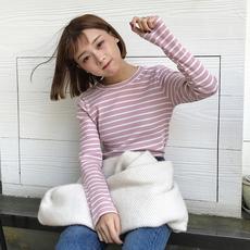 秋装女装2017新款韩版修身显瘦长袖条纹打底衫百搭学生T恤上衣潮