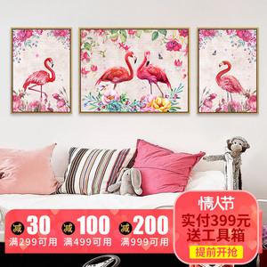 北欧风格火烈鸟客厅装饰画三联温馨时尚大气挂画壁画沙发背景墙