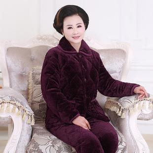 冬季中老年人珊瑚绒睡衣女三层夹棉加厚法兰绒保暖家居服妈妈套装