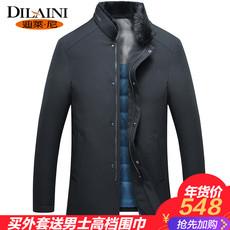 冬季新款毛领羽绒服男中年男士中长款加厚立领商务男款外套爸爸装