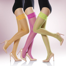 CoComia Spring and Summer 18D Ultra-thin Cored Silk Sexy Colored Lace Silicone Anti-skid Stockings Female Silk Socks