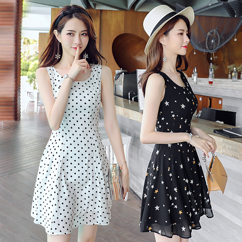 无袖雪纺连衣裙短款女大码夏季新款韩版修身收腰a版学生女印花图片