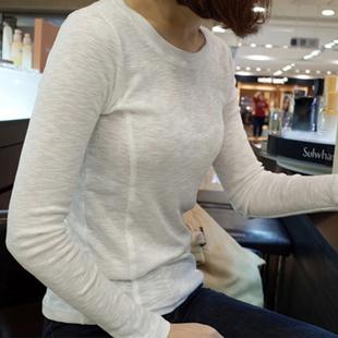 秋冬季新款内搭修身纯色竹节棉长袖女T恤 显瘦纯棉打底衫白色上衣