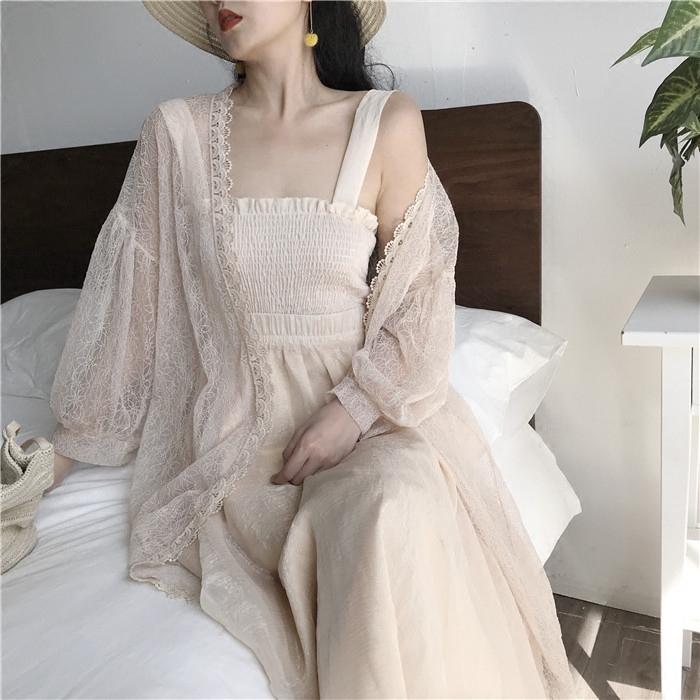 外披女夏长袖开衫复古chic港味镂空防晒衫女中长款外套蕾丝上衣图片