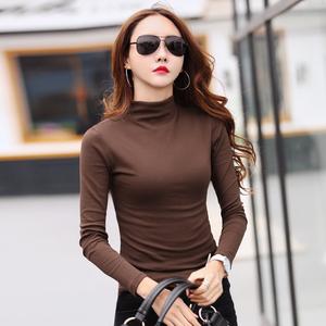 半高领打底衫女秋冬中领长袖t恤修身纯棉紧身上衣纯色百搭小衫厚女士T恤