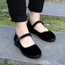 老北京布鞋女一字扣带中老年人春夏单鞋黑色服务员工作鞋平跟平底
