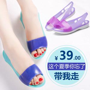 夏季<span class=H>果冻</span>鞋女鱼嘴百搭<span class=H>塑胶</span><span class=H>凉鞋</span>防滑软底水晶坡跟塑料<span class=H>凉鞋</span>女沙滩鞋