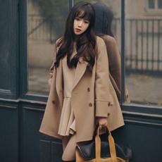 毛呢子大衣2017韩版新款斗篷中长款小个子学生加厚驼色外套女秋冬