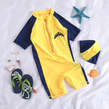 Children's swimsuit printed yellow Shark Boy conjoined swimming trunks hot spring baby baby sunscreen Diving Suit Swimsuit