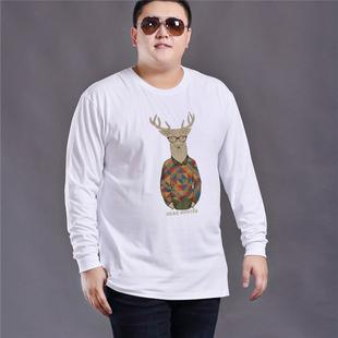 春季T恤男长袖胖子肥佬加肥加大码纯棉圆领宽松休闲打底衫上衣潮