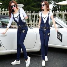 牛仔背带裤女2018新款春装女士裤子韩版显瘦两件套小脚裤长裤套装