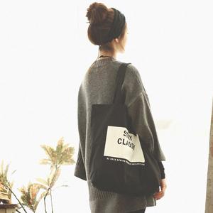 原宿百搭潮韩版帆布女包文艺单肩小清新休闲学院学生大容量手提袋