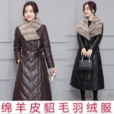 处理2017冬季女式真皮羽绒服中长款皮衣加厚水貂毛领皮草大码外套