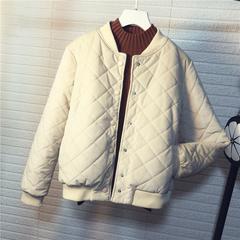 2018新款冬季韩版菱格bf棒球服棉衣外套女短款金丝绒原宿小棉服潮
