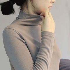 秋冬季新品 韩版纯棉加绒半高领长袖T恤打底衫纯色修身显瘦女上衣