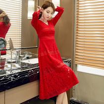 镂空回门服新娘女装 时尚 长袖 大红色春秋蕾丝连衣裙中长款 冬季新品