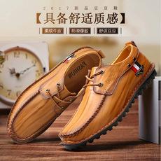 小新潮馆秋冬男皮鞋真皮皮鞋英伦风豆豆鞋牛皮男鞋轻质透气防滑