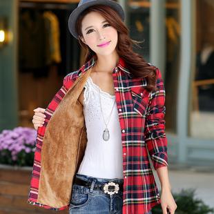 2018秋冬装新款加绒保暖女格子衬衫长袖韩版加厚纯棉磨毛上衣外套