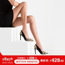 时尚 女欧美拼色低帮鞋 法贝妃2017秋季豹纹单鞋 细高跟真皮鞋