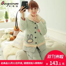 纯棉夹棉睡衣女冬长袖三层加厚大码居家服可爱卡通少女家居服套装