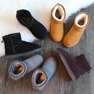 真皮雪地靴女短筒大码短靴冬季保暖加绒棉靴子平底学生加厚男女鞋女靴