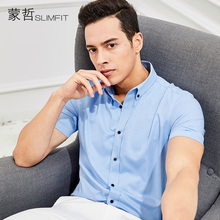 夏季商务男士短袖衬衫修身型免烫纯色蓝衬衣男职业正装薄微弹力款