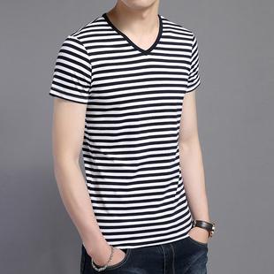 中青年男士短袖T恤宽松纯棉条纹小V领鸡心领男装薄款汗衫体血桖衫