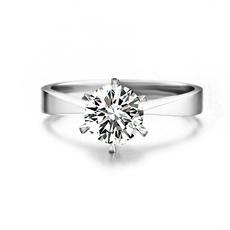 PT950莫桑钻戒指 铂金莫桑石裸钻裸石六爪钻戒订婚结婚