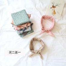 日系原宿学院风小方巾学生卡通棉麻领巾儿童亲子围巾丝巾发带百搭