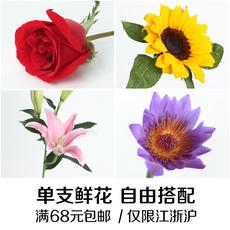 杭州同城速递鲜花 百合花单支自由搭配 玫瑰花束康乃馨家庭插花