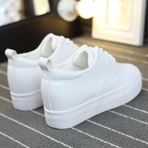 冬季百搭加绒帆布鞋女学生韩版内增高小白鞋白色系带运动棉鞋女鞋手绘帆布鞋