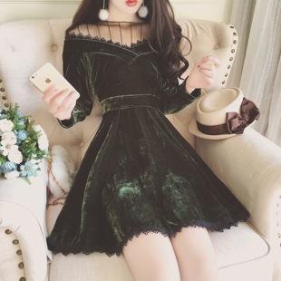 韩国新款名媛气质透视蕾丝花边拼接丝绒高腰收腰A字淑女连衣裙子