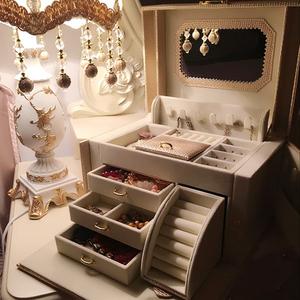 首饰盒公主欧式珠宝饰品收纳盒韩国带锁木质收纳箱首饰收纳盒礼物首饰盒
