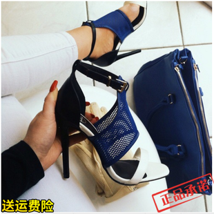 2018 color matching the nets sexy high-heeled sandals, Roman