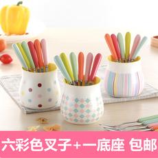 创意可爱彩色水果叉陶瓷不锈钢三齿点心叉甜品叉套装