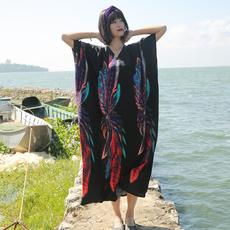 常思/复古文艺长袍子超长绵绸长裙宽松大码旅行拍照大袍沙滩裙