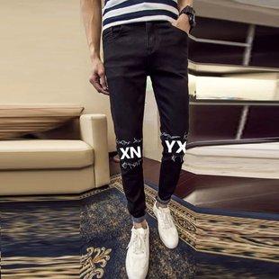 男士秋季牛仔裤新款青少年修身型小脚长裤潮流男裤弹力裤子包邮
