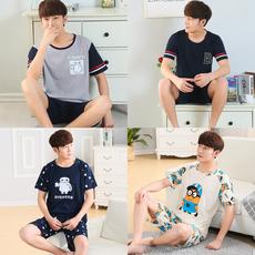 夏季睡衣男士短袖纯棉套装宽松休闲加大码青年卡通常规家居服夏天
