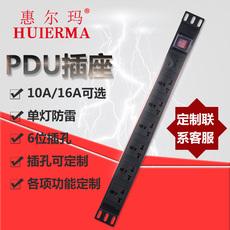 惠尔玛pdu机柜插座6位 10A带开关电源插座工业机 柜专用电源排插