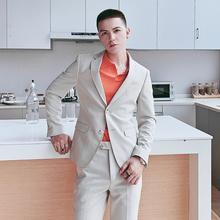 西装 韩版 潮流青年英伦风薄款 男套装 pop男装 修身 休闲西服套装