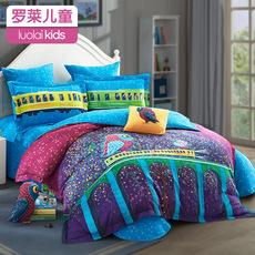 罗莱家纺儿童全棉磨毛四件套纯棉卡通秋冬床上用品床单被套luolai