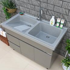 不锈钢洗衣柜阳台柜石英石带搓板浴室柜组合洗衣池洗衣台盆卫浴柜