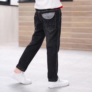 儿童牛仔裤<span class=H>男童</span>2018春秋新款休闲韩版潮<span class=H>黑色</span>中大童薄绒双层裤子