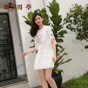 尚州夏款蕾丝系带小清新大花图案森女蝴蝶袖白色连衣裙HXL326