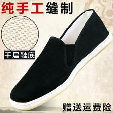 老北京纯手工千层底布底男士休闲男鞋一脚蹬轻便防臭透气黑布鞋单
