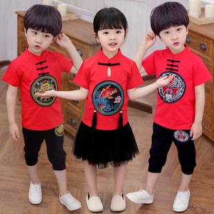 夏季兒童中國風短袖唐裝民族風兩件套男童女童純棉漢服表演服套裝