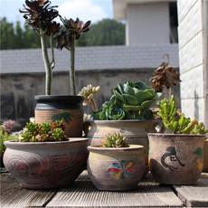 新款多肉植物花盆地中海粗陶大口径拼盘复古做旧老桩盆绿萝陶瓷盆