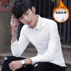 冬季保暖男士长袖白衬衫修身青少年加绒加厚寸衫职业商务正装带绒