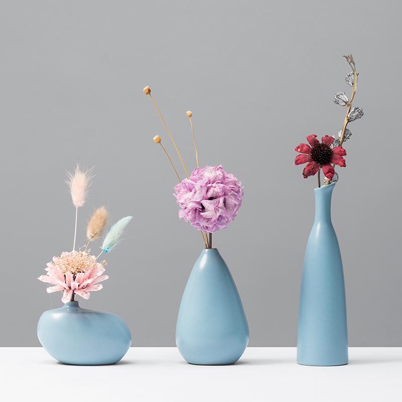 花与器 禅意日式创意手工陶瓷小花瓶家居装饰品干花插花茶几花器图片